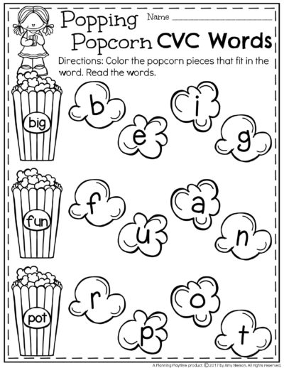 Popping Popcorn FREE CVC Words Worksheet.