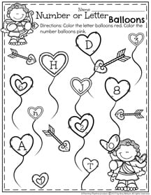 Preschool Letter or Number Sort Worksheet for February
