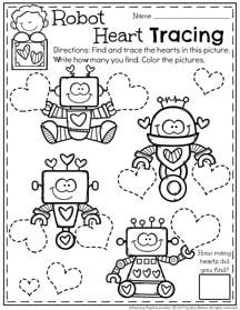 Robot Heart Tracing Preschool Worksheet