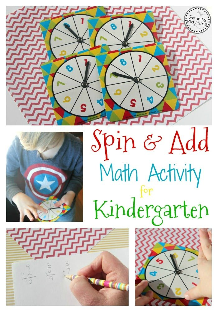 Spin and Add Math Activity for Kindergarten.