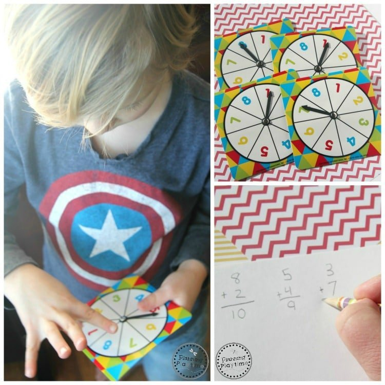 Spin and Add Math Activity for kids - Great for Kindergarten or First Grade.