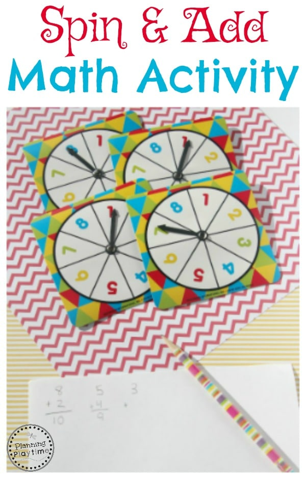 Spin and Add Math Activity for kids.