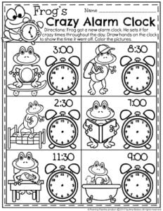 Telling Time Worksheets - Frog's Crazy Alarm Clock. When did he set it. So fun!
