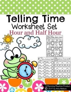 Telling Time Worksheets for first grade. Hour and half hour.