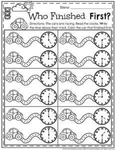 Telling Time Worksheets. Who finished the race first.