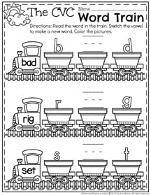 The Word Train - Switch the Vowel Worksheets for CVC Words.