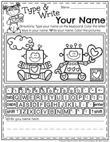 Type and Write Your Name Preschool Worksheet