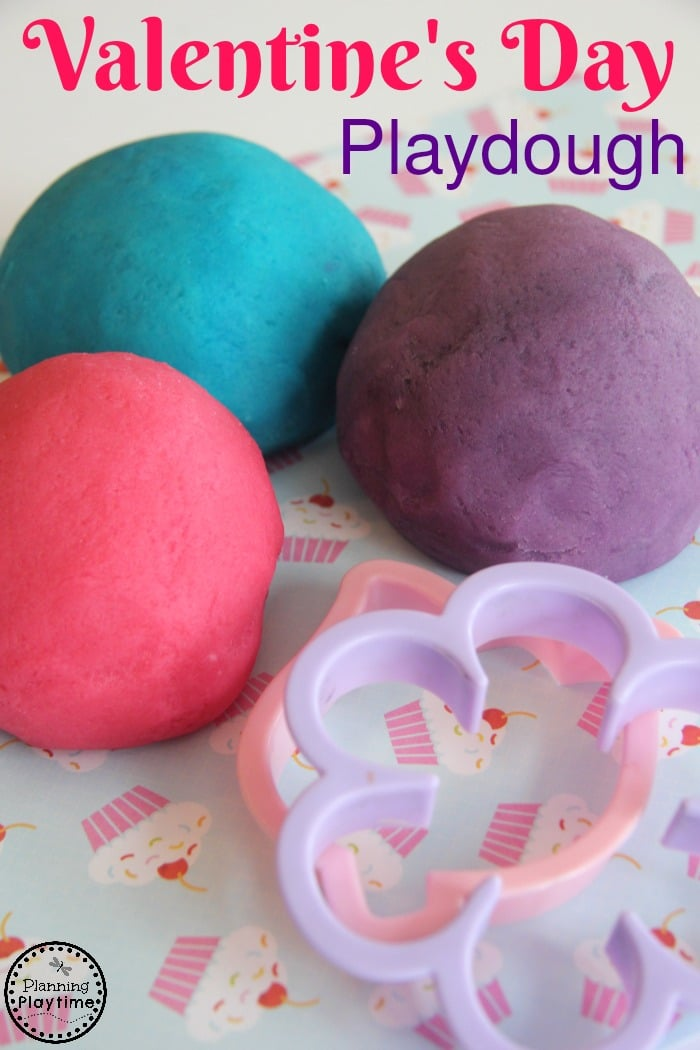 Valentine's Day Playdough Activity for kids.