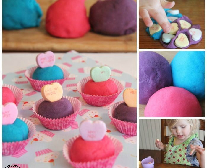 Valentine's Day Playdough Activity for preschool.