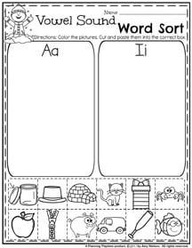 Vowel Sound Word Sort - February Preschool Worksheets