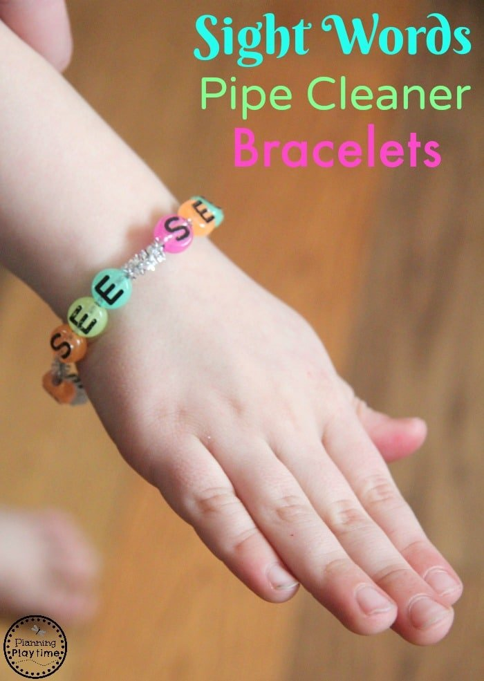 Beaded Sight Words Bracelets for kids using pipe cleaners.
