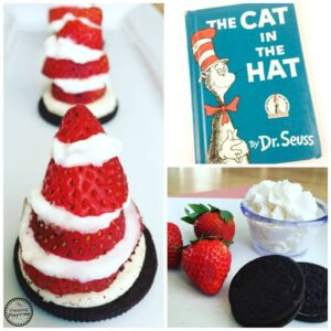 "Oreo Strawberries and Cream Cat in the Hat Activity and Snack March 2nd is one of the most magical days of the entire year. It's the day when Sam I Am tries Green Eggs and Ham, when Horton the Elephant hears a Who, and when The Sneetches get stars upon thars. That's right, March 2nd is Dr. Seuss's Birthday and Read Across America Day. It is also the day when one of the most beloved characters of all time, The Cat in the Hat, comes out to play. March 2nd is right around the corner, so there is no better time to share our Oreo Strawberries and Cream Cat in the Hat Activity and Snack with you! You will only need 3 things for this Oreo Strawberries and Cream Cat in the Hat Activity and Snack… Oreos (Double Stuffed work best) Strawberries (The bigger the better) Whipped Cream (In the aerosol can) I started by having my kids twist apart the Oreo. This works really well with Double Stuffed Oreos because the cream is thick enough it doesn't get stuck on both sides. My kids immediately ate the side with no cream, and placed the cream side on a plate. While they were working on their Oreos, I cut the strawberries into 4 round slices. If your strawberries are small you might want to only cut 3. The biggest strawberry slice, we set on top of the cream filled Oreo. I then helped my younger kids spray a little bit of Whipped Cream on top of the strawberry. We found that the extra creamy kind works best. Because Whipped Cream melts so fast, having the extra thickness really helped the Oreo Strawberries and Cream Cat in the Hat Snack last just a bit longer. They continued spraying a bit of cream, and then placing a slice of strawberry on top until all 4 pieces were done. The pointed end of the strawberry was last, creating the top of the hat. The Oreo Strawberries and Cream Cat in the Hats didn't last long. As the cream began to melt, the strawberries would start to slide off and the hat toppled over. But it didn't matter, because my kids were eating them just as fast as they could make them. They each made 3 or 4 and begged for more. I cut them off at that point, saying they would ruin their dinner, but secretly wanting the rest for myself. They are SO good! Strawberries and Cream is such a classic combination, but adding the Chocolatey Oreo was a home run! Dr. Seuss is known for his whimsical ways, and this Oreo Strawberries and Cream Cat in the Hat Activity and Snack displays exactly that… Whimsical Fun. No matter how hard I tried, and how carefully I placed the strawberries on top of the cream, I could not get the hat to be straight. And I kind of LOVE that! Dr. Seuss wanted kids to understand that using our imaginations doesn't always have to be pretty, and it doesn't always have to make sense. But it is ALWAYS fun. If you wanted to create these Oreo Strawberries and Cream Cat in the Hats for a birthday party or a baby shower, you might consider using a cream frosting. The Strawberries will stick much better and the cute little hats will hold their shape for much longer. We hope you love these Oreo Strawberries and Cream Cat in the Hats! And we hope they bring a little bit of Dr. Seuss magic to your Read Across America Day! And don't forget to read ""The Cat and the Hat"" either before or after you make these tasty treats! CLASSROOM CONNECTION: This would be such a fun activity to do for your classroom Dr. Seuss Day party. I think a station with 5-6 kids would work best, and you would probably need 2-3 cans of Whipping Cream to keep the kids moving quickly enough before the cream begins to melt. Also, don't forget to keep your Cream refrigerated until the last minute. The colder the cream is, the better it will work to assemble the hats!"