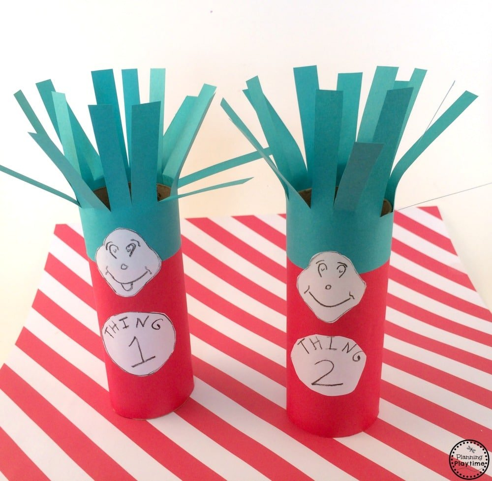 Cat in the Hat Craft - Thing 1 and Thing 2 toilet paper rolls.