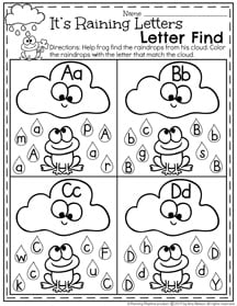 It's Raining Letters Alphabet Recognition Worksheet I