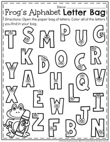 Letter Recognition Activity - Place a handful of letters in a paper sack. Color the letters you find in your bag.