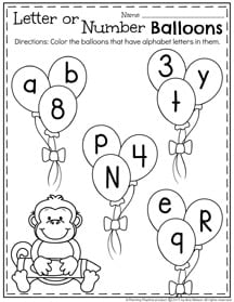 Letter or Number Balloons March Preschool Worksheets