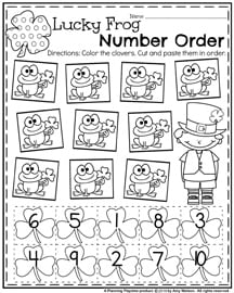 March Preschool Worksheets - Lucky Frog Number Order