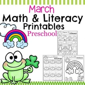 March Preschool Worksheets - Math and Literacy activities for preschool