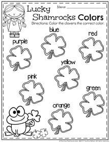 Preschool Colors Worksheet for March.