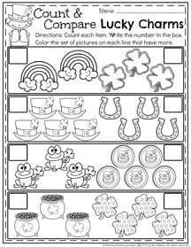 Preschool Count and Compare Worksheets for March