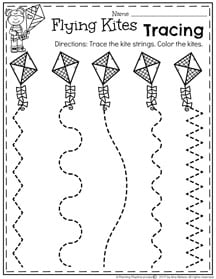 Preschool Line Tracing Kites