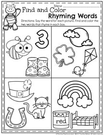 Preschool Rhyming Words Worksheet for March