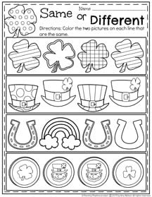 Preschool Same or Different Worksheets for March.