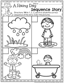 Preschool Sequence Worksheet - My Rainy Day Sequence Story