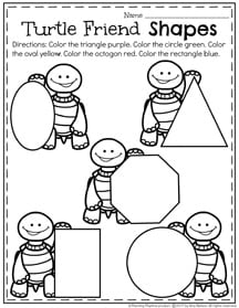 Preschool Shapes Worksheet for March.