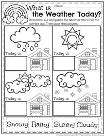 Preschool Weather Worksheet for March