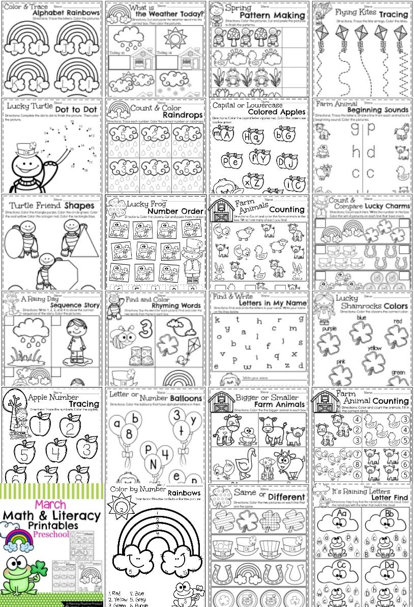 Workbooks letter n worksheets for preschoolers : March Preschool Worksheets - Planning Playtime