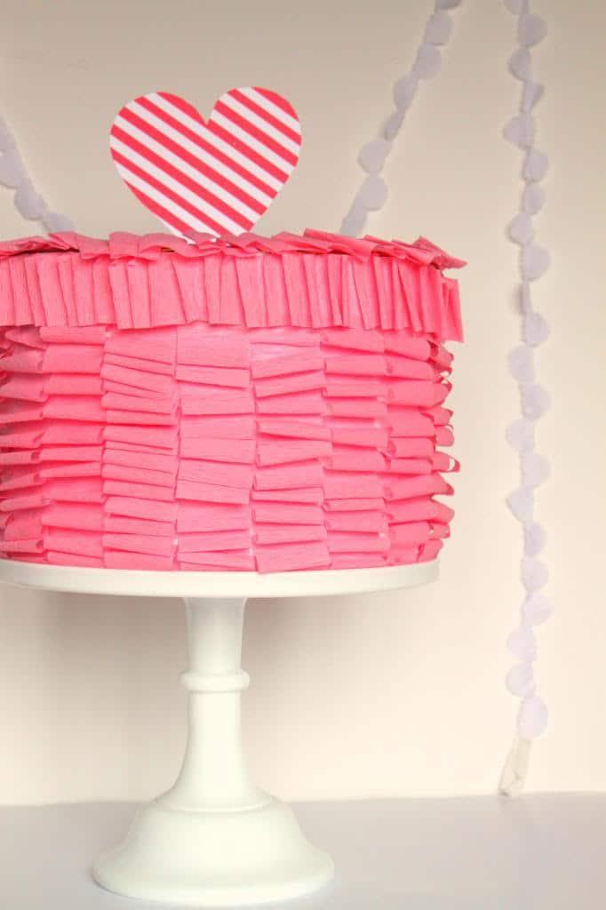Ruffle Cake Valentines Box for girls.