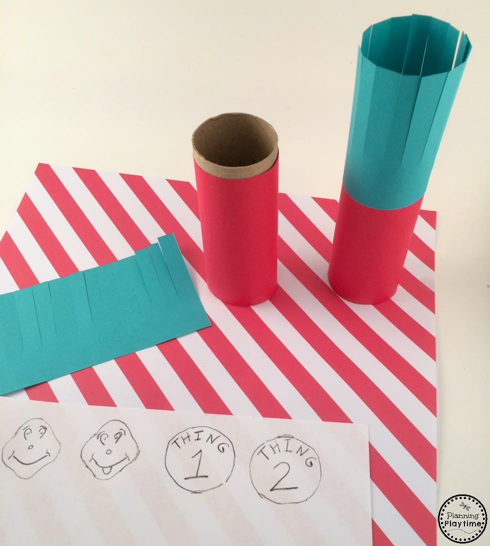 Thing 1 and Thing 2 Toilet Paper Roll Craft.