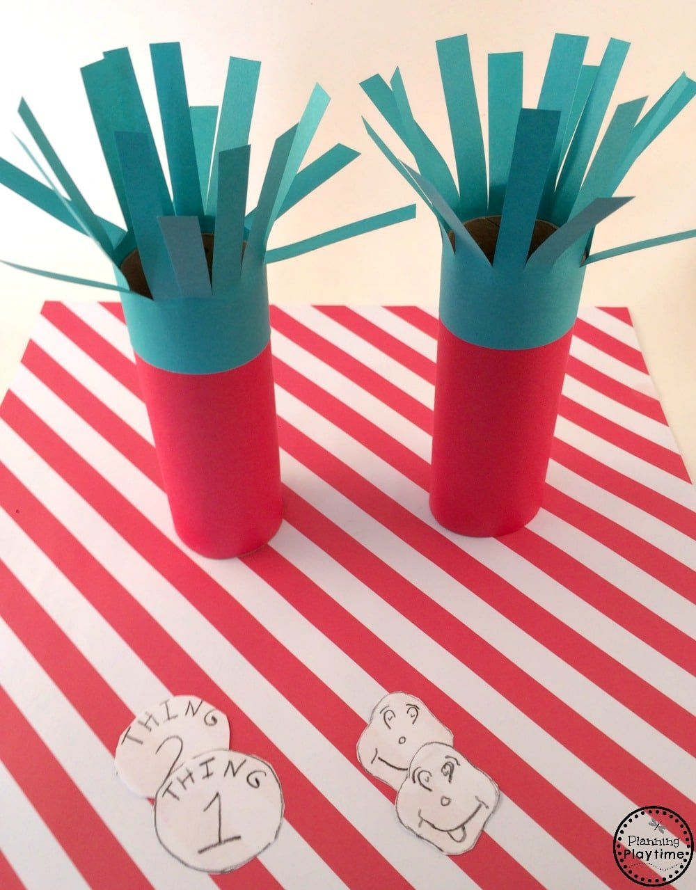 Thing 1 and Thing 2 Toilet Paper Roll Craft