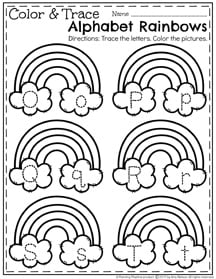 March Preschool Worksheets - Trace and Color Letter Rainbows II
