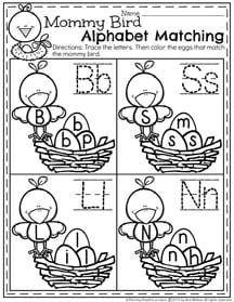 April Preschool Worksheets - Mommy Bird Alphabet Matching I