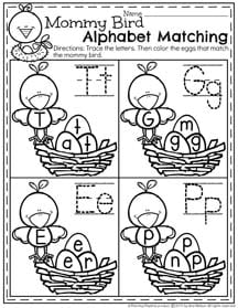 April Preschool Worksheets - Mommy Bird Alphabet Matching II