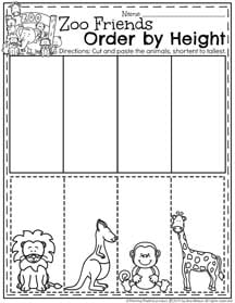 April Preschool Worksheets - Order by Height
