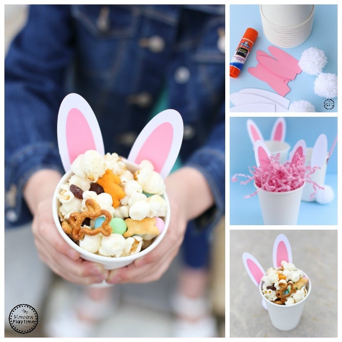Cute Bunny Ears Snack Cup and Easter Snack Mix