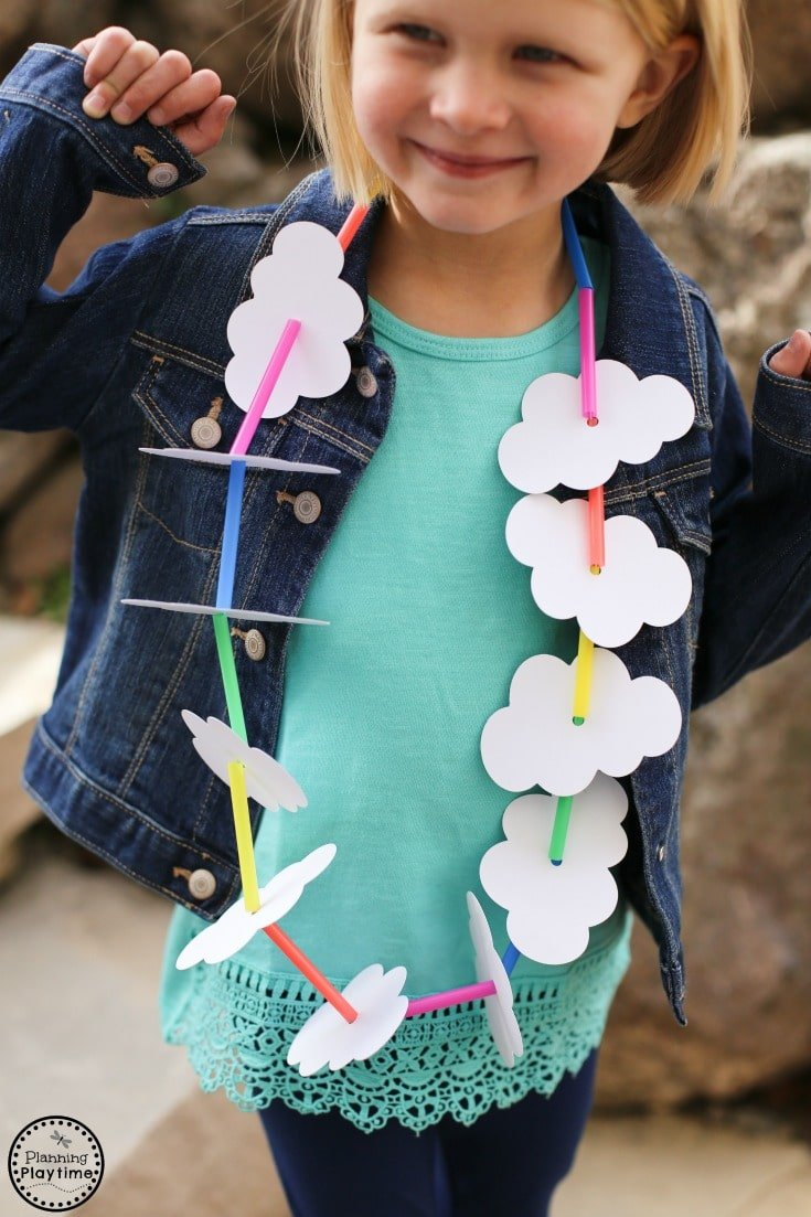 Cute Clouds and Rainbow Necklace Craft for kids using drinking straws.