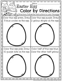 Easter Preschool Worksheets - Color by Directions