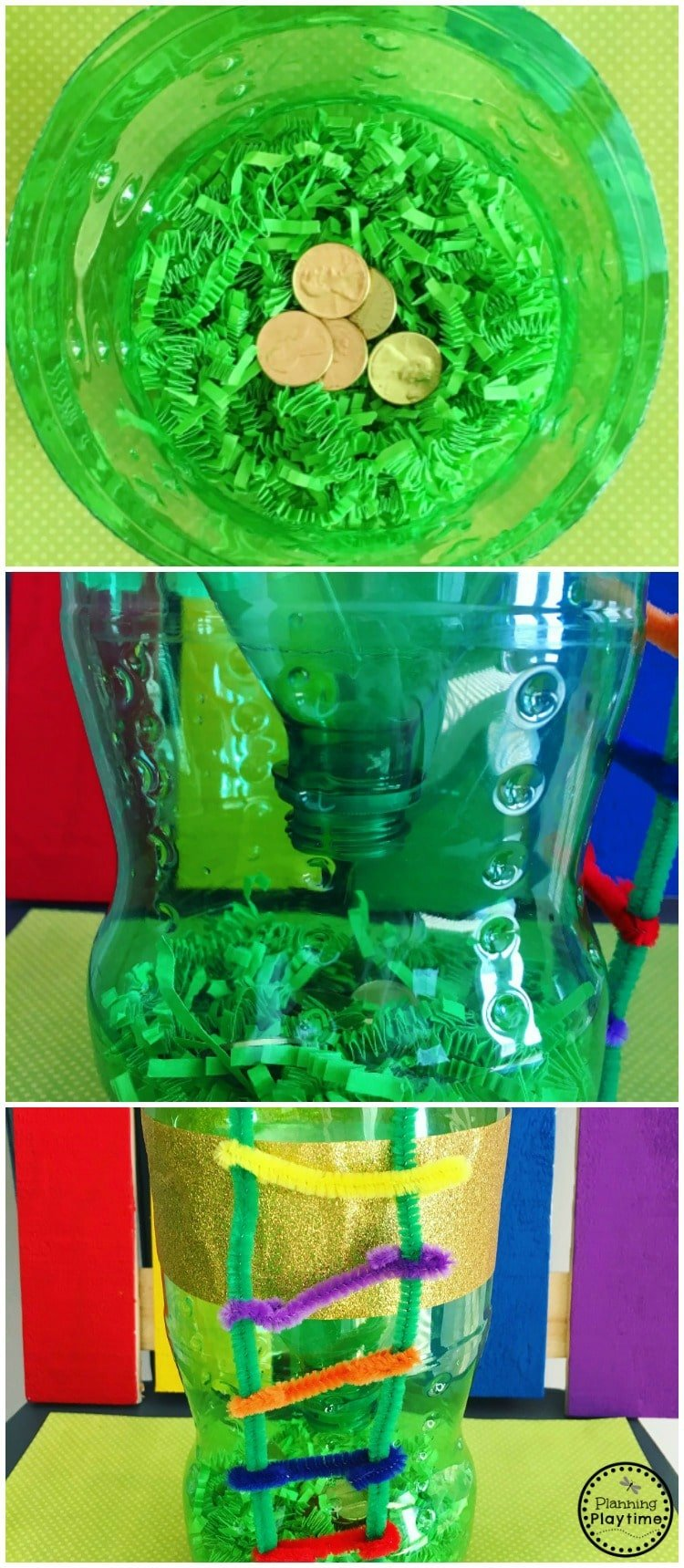 Easy Leprechaun Trap Idea for kids - Pop bottle, pipe cleaners, and pennies.