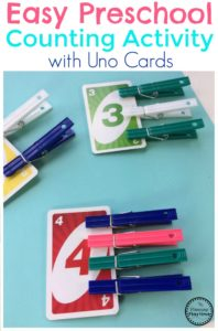 Easy Preschool Counting Activity with Uno Cards
