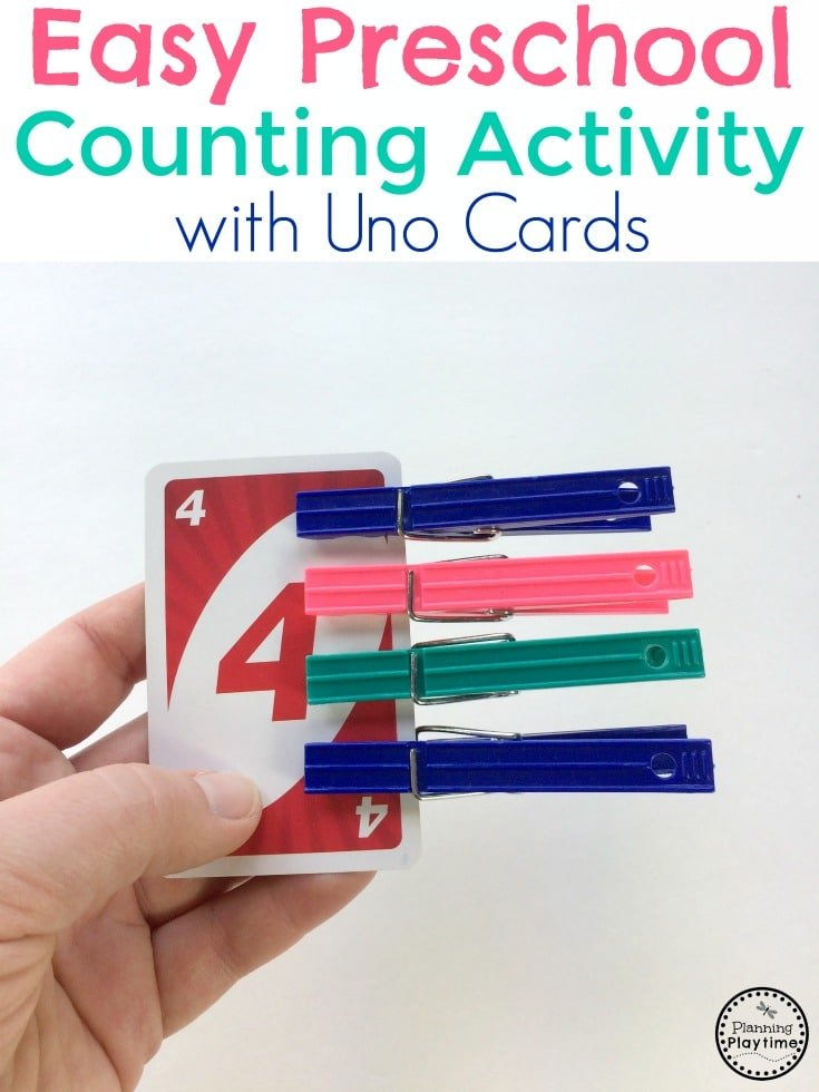 Easy Preschool Counting Activity with Uno Cards and Clothespins.