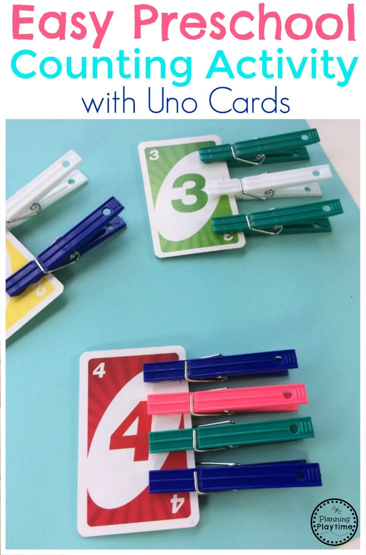 Easy Preschool Counting Activity with Uno Cards
