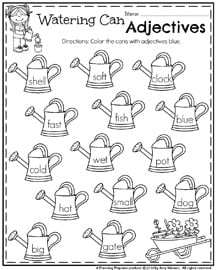 First Grade Adjectives Worksheet for May