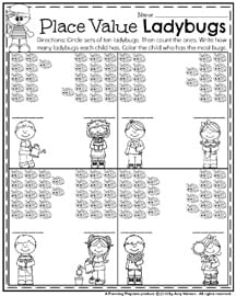 First Grade Math Worksheets - Place Value Ladybugs.