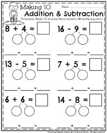 May First Grade Worksheets For Spring  Planning Playtime  First Grade Math Worksheets For May  Making  Addition  Subtraction