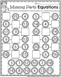 First Grade Math Worksheets for Spring - Missing Number Equations