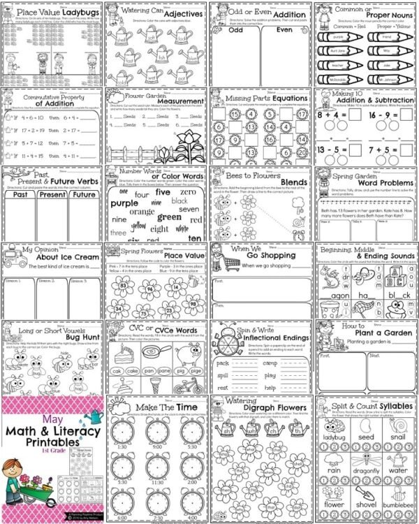 First Grade Math and Literacy Printables - May Preview